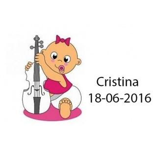 Tarjetita de bebé para niña con violín
