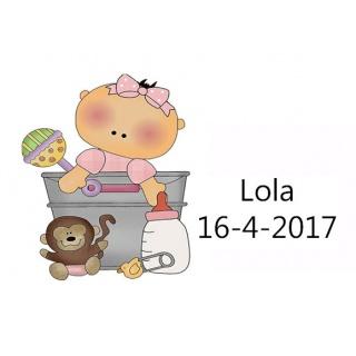 Tarjetita de bebé para niña jugando