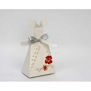 Cajita carton novia flor naranja