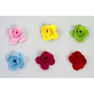 Surtido flores rosa varios colores fieltro. Precio unidad. (4,5cm)