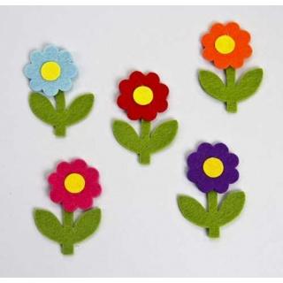 Surtido flores margaritas fieltro sencilla. bolsa 50 unidades. (7,5cm)