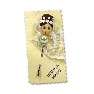 Alfiler de boda hecho a mano muñeca con perla