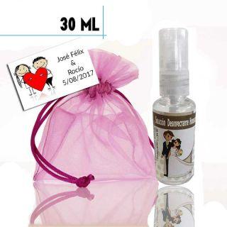 Gel hidroalcohólico 30ml con pegatina de boda, bolsa y tarjeta