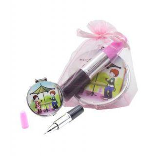 Pack de regalo; espejo, boli de pintalabios y bolsa de organza